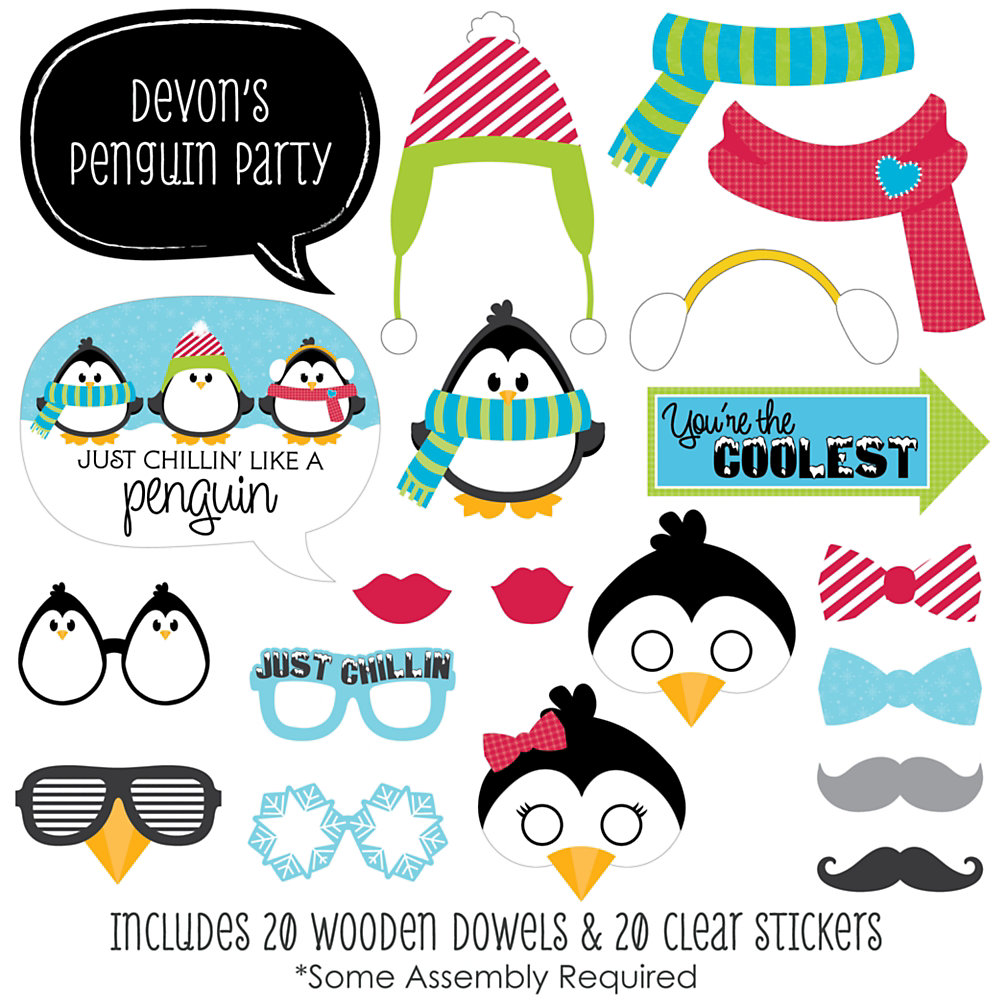 8ee7703f38b30 Holly Jolly Penguin - 20 Piece Holiday   Christmas Party Photo Booth Props  Kit. Double tap to zoom