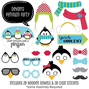 Holly Jolly Penguin - 20 Piece Holiday & Christmas Party Photo Booth Props Kit
