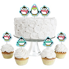 Holly Jolly Penguin - Dessert Cupcake Toppers - Holiday & Christmas Party Clear Treat Picks - Set of 24
