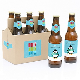 Holly Jolly Penguin - Decorations for Women and Men - 6 Holiday & Christmas Party Beer Bottle Label Stickers and 1 Carrier