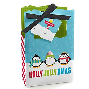 Holly Jolly Penguin - Holiday & Christmas Party Gift Bags for Women - Holiday Party Gift Favor Boxes - Set of 12