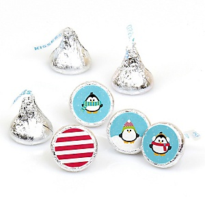 Holly Jolly Penguin - Round Candy Labels Holiday & Christmas Party Favors - Fits Hershey Kisses - 108 ct