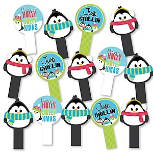 Holly Jolly Penguin - Holiday & Christmas Party Paddle Photo Booth Props – Selfie Photo Booth Props – Set of 14