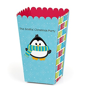 Holly Jolly Penguin - Personalized Holiday & Christmas Party Popcorn Favor Treat Boxes - Set of 12