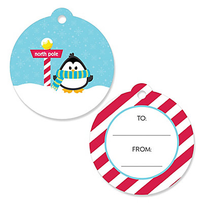 holly jolly penguin 20 round holiday christmas party gift tags