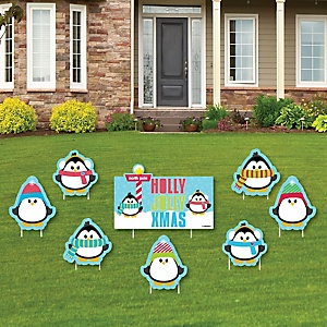 Holly Jolly Penguin - Yard Sign & Outdoor Lawn Decorations - Holiday & Christmas Yard Signs - Set of 8