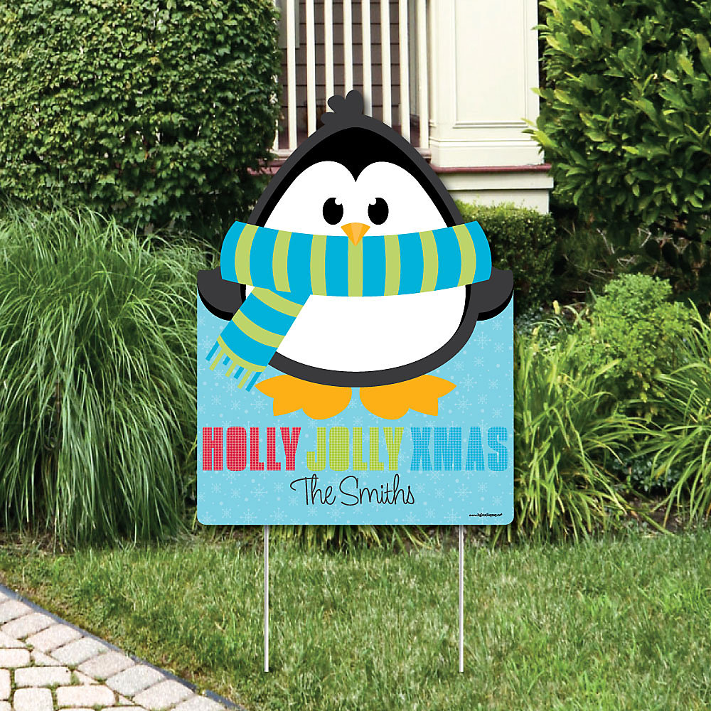 Holly Jolly Penguin Party Decorations Holiday Christmas Personalized Welcome Yard Sign