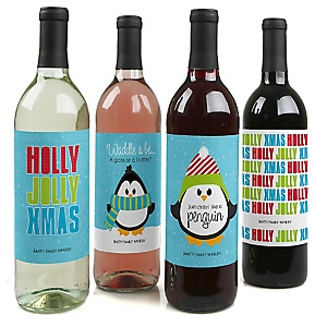 Holly Jolly Penguin - Holiday & Christmas Party Wine Bottle Label Stickers - Set of 4