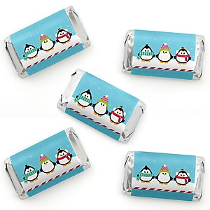 Holly Jolly Penguin - Mini Candy Bar Wrapper Stickers - Holiday & Christmas Party Small Favors - 40 Count