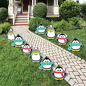 Holly Jolly Penguin - Penguin Lawn Decorations - Outdoor Holiday & Christmas Yard Decorations - 10 Piece
