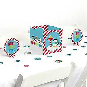 Holly Jolly Penguin - Holiday & Christmas Party Centerpiece and Table Decoration Kit