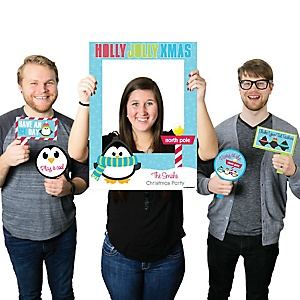 Holly Jolly Penguin - Personalized Holiday & Christmas Selfie Photo Booth Picture Frame & Props - Printed on Sturdy Material
