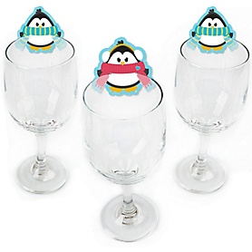 Holly Jolly Penguin - Shaped Holiday & Christmas Party Wine Glass Markers - Set of 24