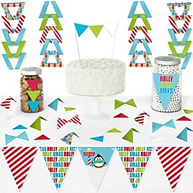 Holly Jolly Penguin - DIY Pennant Banner Decorations - Holiday & Christmas Party Triangle Kit - 99 Pieces