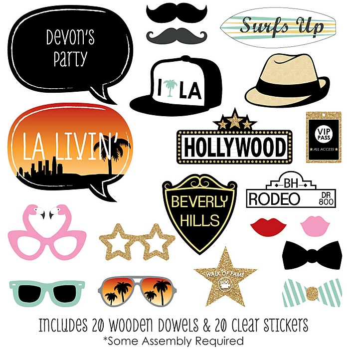LA LIVIN' - Hollywood California Party - 20 Piece Photo Booth Props Kit