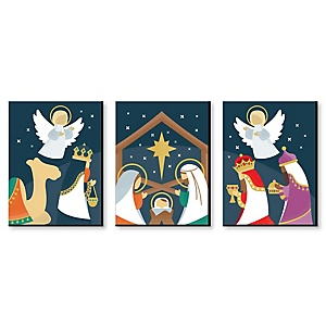 Holy Nativity - Religious Nursery Wall Art and Manger Scene Christmas Room Decor - 7.5 x 10 inches - Set of 3 Prints