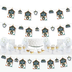Holy Nativity - Manger Scene Religious Christmas DIY Decorations - Clothespin Garland Banner - 44 Pieces