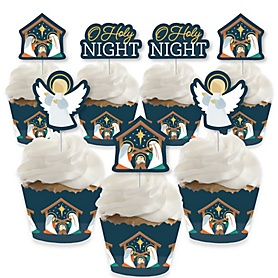 Holy Nativity - Cupcake Decoration - Manger Scene Religious Christmas Cupcake Wrappers and Treat Picks Kit - Set of 24