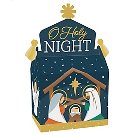 Holy Nativity - Treat Box Party Favors - Manger Scene Religious Christmas Goodie Gable Boxes - Set of 12