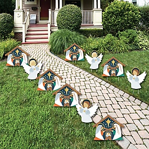 Holy Nativity - Angel and Manger Scene Lawn Decorations - Outdoor Religious Christmas Yard Decorations - 10 Piece