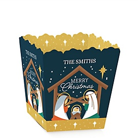 Holy Nativity - Party Mini Favor Boxes - Manger Scene Religious Christmas Treat Candy Boxes - Set of 12