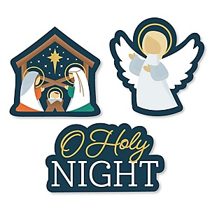 Holy Nativity - DIY Shaped Manger Scene Religious Christmas Cut-Outs - 24 Count