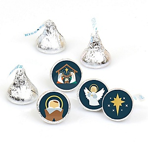 Holy Nativity - Manger Scene Religious Christmas Round Candy Sticker Favors - Labels Fit Hershey's Kisses (1 sheet of 108)