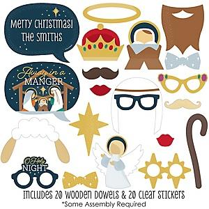 Holy Nativity - 20 Piece Manger Scene Religious Christmas Photo Booth Props Kit