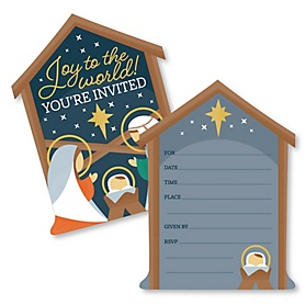 Holy Nativity - Shaped Fill-In Invitations - Manger Scene Religious Christmas Invitation Cards with Envelopes - Set of 12