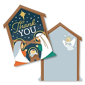 Holy Nativity - Shaped Thank You Cards - Manger Scene Religious Christmas Thank You Note Cards with Envelopes - Set of 12