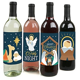 Holy Nativity - Manger Scene Religious Christmas Decorations for Women and Men - Wine Bottle Label Stickers - Set of 4