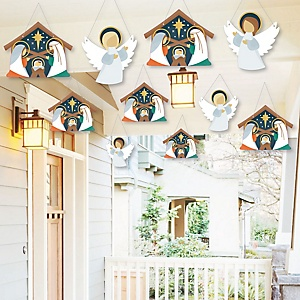 Hanging Holy Nativity - Outdoor Manger Scene Religious Christmas Hanging Porch and Tree Yard Decorations - 10 Pieces