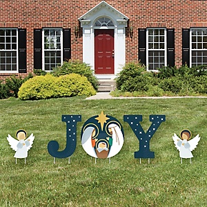 Holy Nativity - Yard Sign Outdoor Lawn Decorations - Manger Scene Religious Christmas Yard Signs - Joy