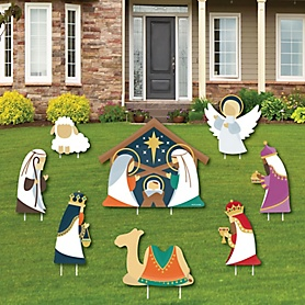 Holy Nativity - Yard Sign & Outdoor Lawn Decorations - Manager Scene Religious Christmas Yard Signs - Set of 8