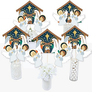 Holy Nativity - Manager Scene Religious Christmas Centerpiece Sticks - Table Toppers - Set of 15