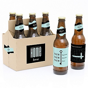 Home Sweet Home - 6 Beer Bottle Labels and 1 Carrier - Housewarming Gift for Women and Men