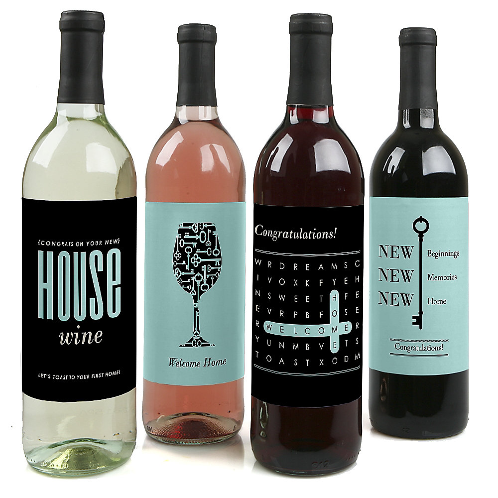 Home Sweet Home - Wine Bottle Labels Housewarming Gift for Women and Men -  Set of 4