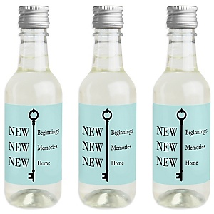 Home Sweet Home - Mini Wine and Champagne Bottle Label Stickers - Housewarming Party Favor Gift for Women and Men - Set of 16