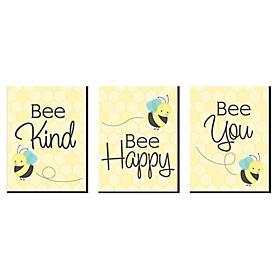 Honey Bee - Nursery Wall Art and Kids Room Decor - 7.5 x 10 inches - Set of 3 Prints