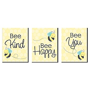 Honey Bee - Nursery Wall Art and Kids Room Décor - 7.5 x 10 inches - Set of 3 Prints