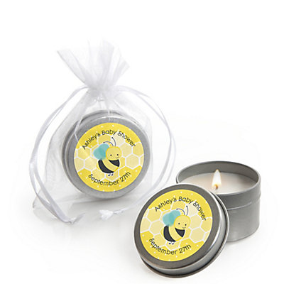 Honey Bee Personalized Baby Shower Candle Tin Favors Set Of 12
