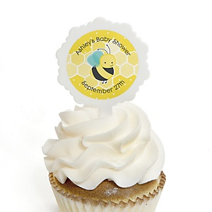Honey Bee - 12 Cupcake Picks & 24 Personalized Stickers - Baby Shower Cupcake Toppers