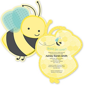 Honey Bee - Shaped Baby Shower Invitations - Set of 12