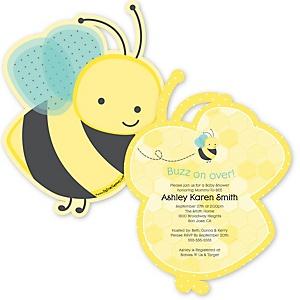 Honey Bee - Shaped Baby Shower Invitations