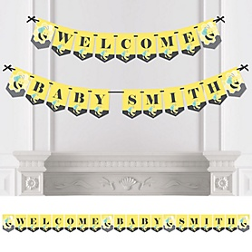 Honey Bee - Personalized Baby Shower Bunting Banner and Decorations