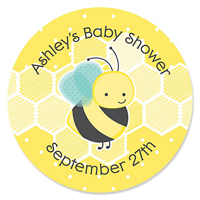Honey Bee   Personalized Baby Shower Sticker Labels   24 Ct |  BigDotOfHappiness.com