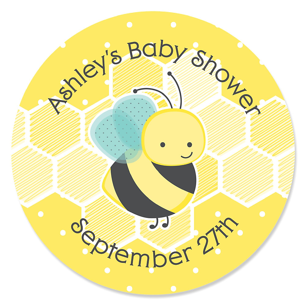 More Views. Honey Bee   Personalized Baby Shower Sticker ...