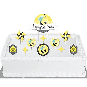 Honey Bee - Birthday Party Cake Decorating Kit - Happy Birthday Cake Topper Set - 11 Pieces