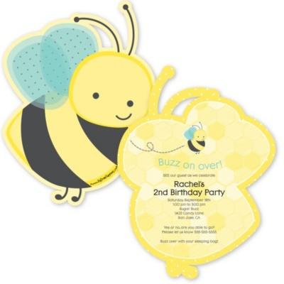 Honey Bee - Shaped Birthday Party Invitations