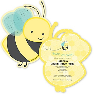 Honey Bee - Shaped Birthday Party Invitations - Set of 12